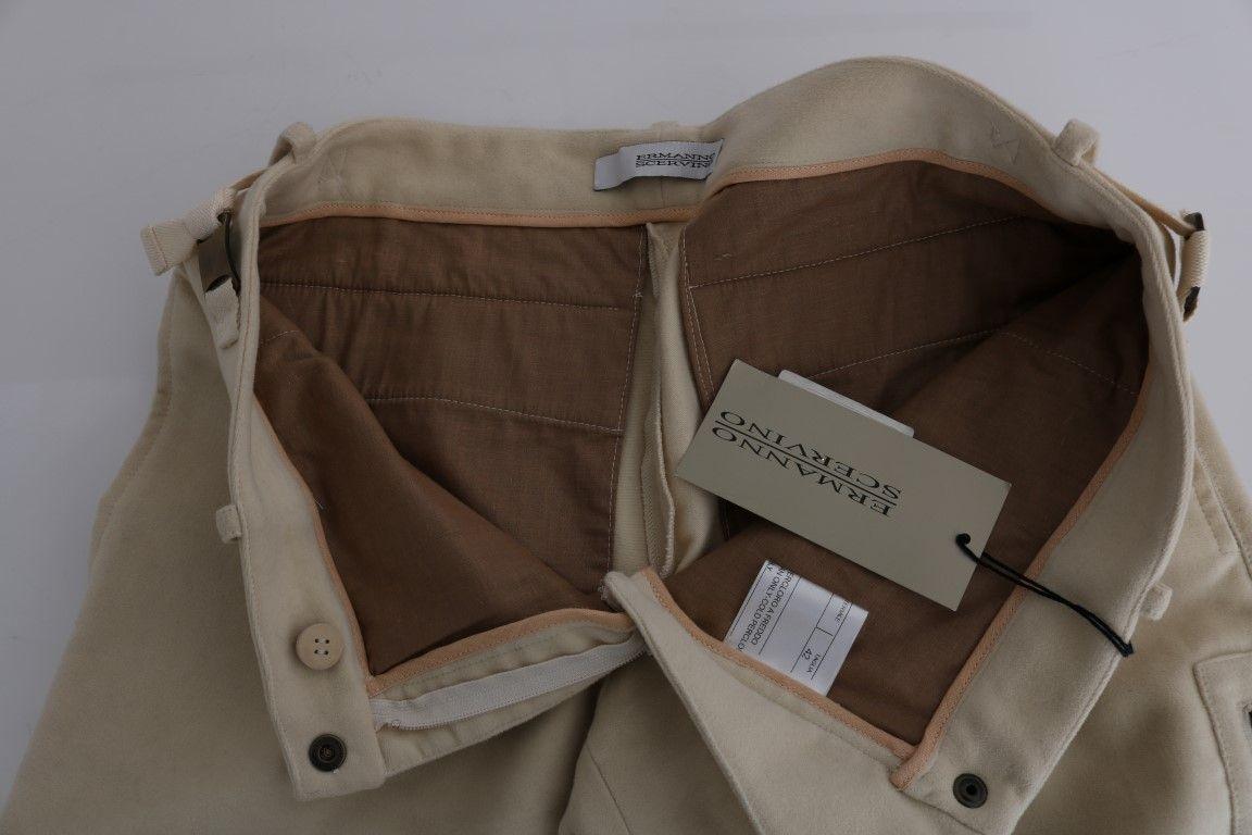 Ermanno Scervino Beige Wool Cropped Regular Fit Pants