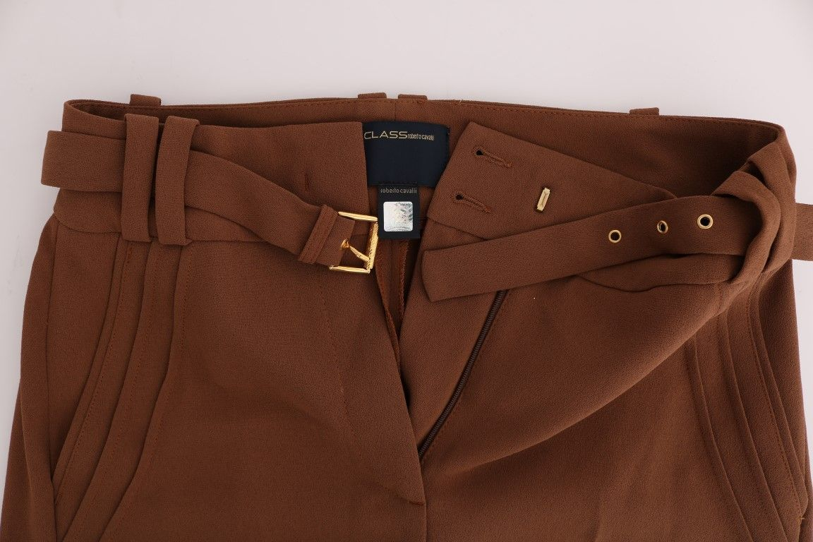 Cavalli Brown Polyester Boot Cut Pants