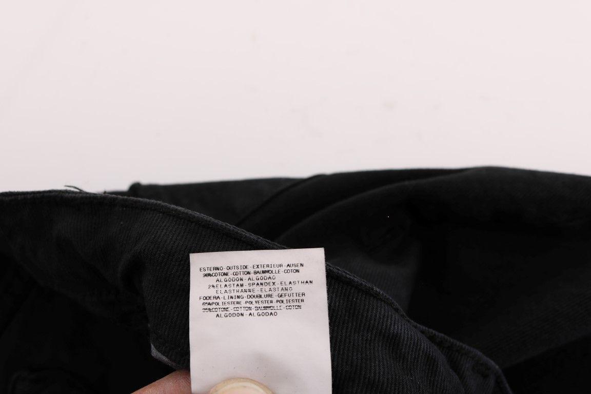 Cavalli Black Cotton Slim Fit Low Waist Jeans