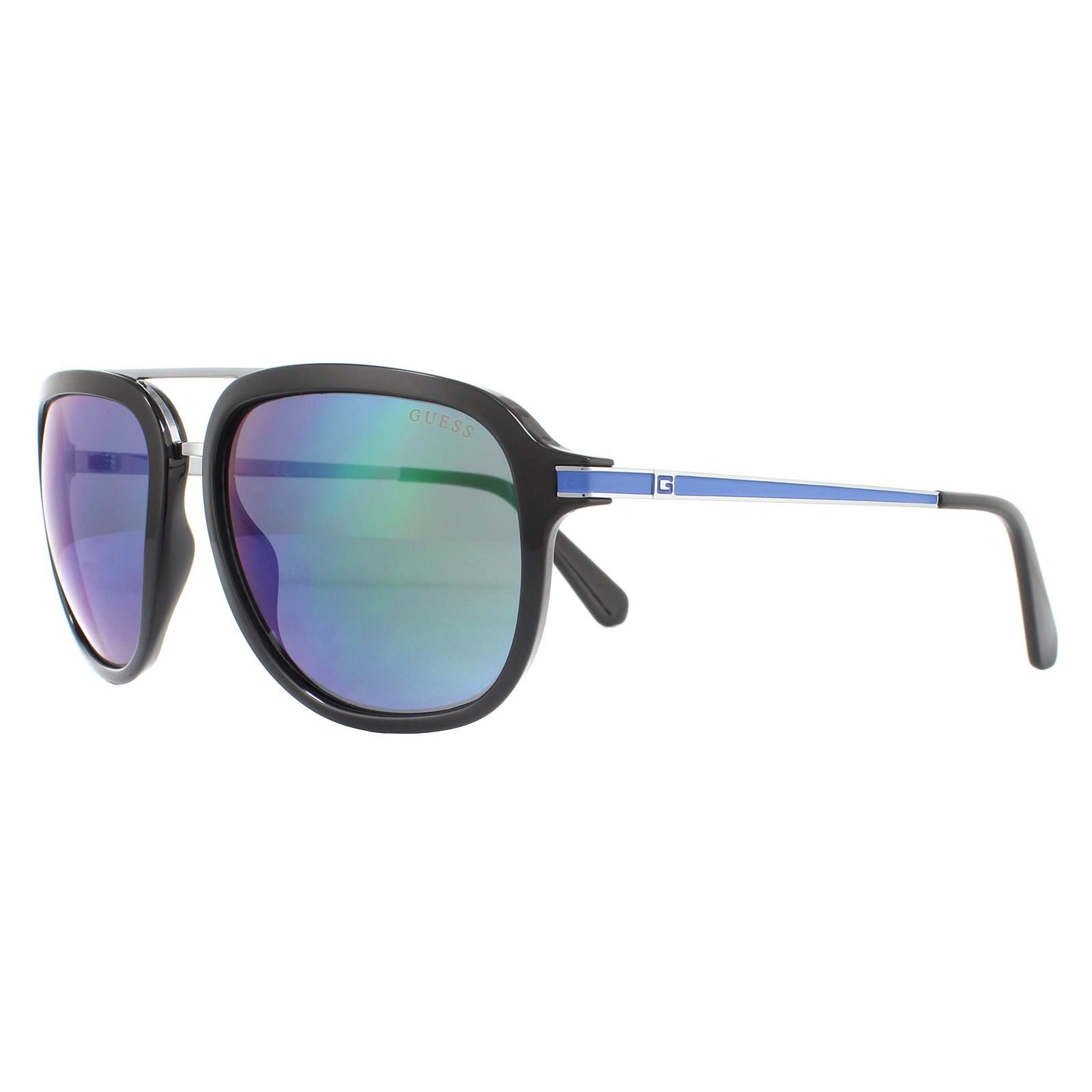 Guess Sunglasses GU6965 01C Shiny Black Blue Blue Mirror