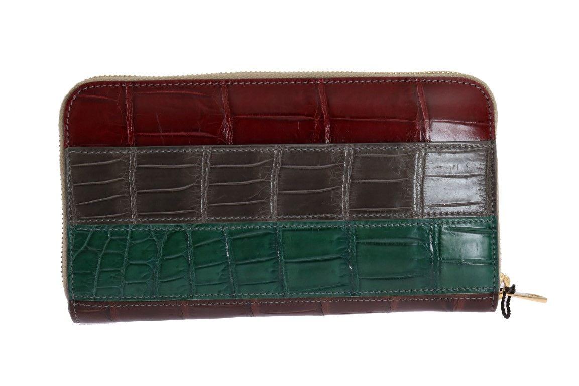 Dolce & Gabbana Multicolor Leather Crocodile Skin Continental Wallet