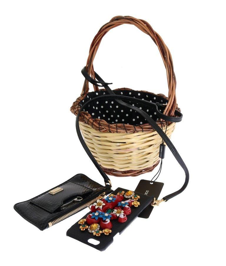 Dolce & Gabbana Beige Straw lack Snakeskin AGNESE Bag