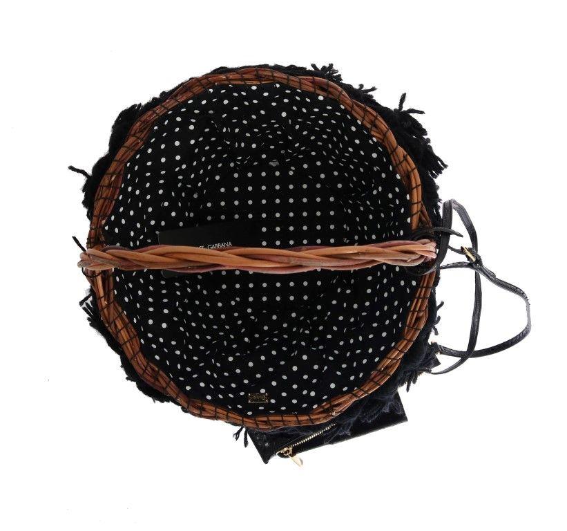 Dolce & Gabbana Beige Straw Snakeskin Pom Pom Crystal AGNESE Bag