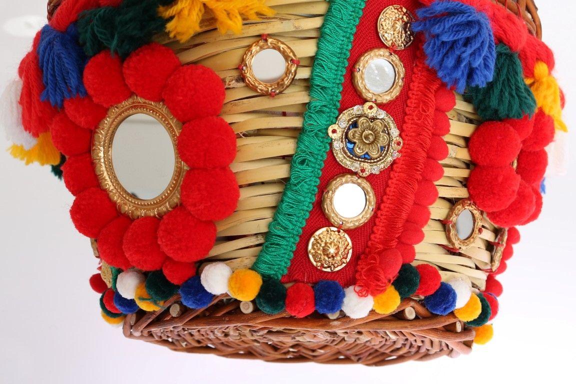 Dolce & Gabbana Multicolor AGNESE Straw Crystal  Pom Pom Bag
