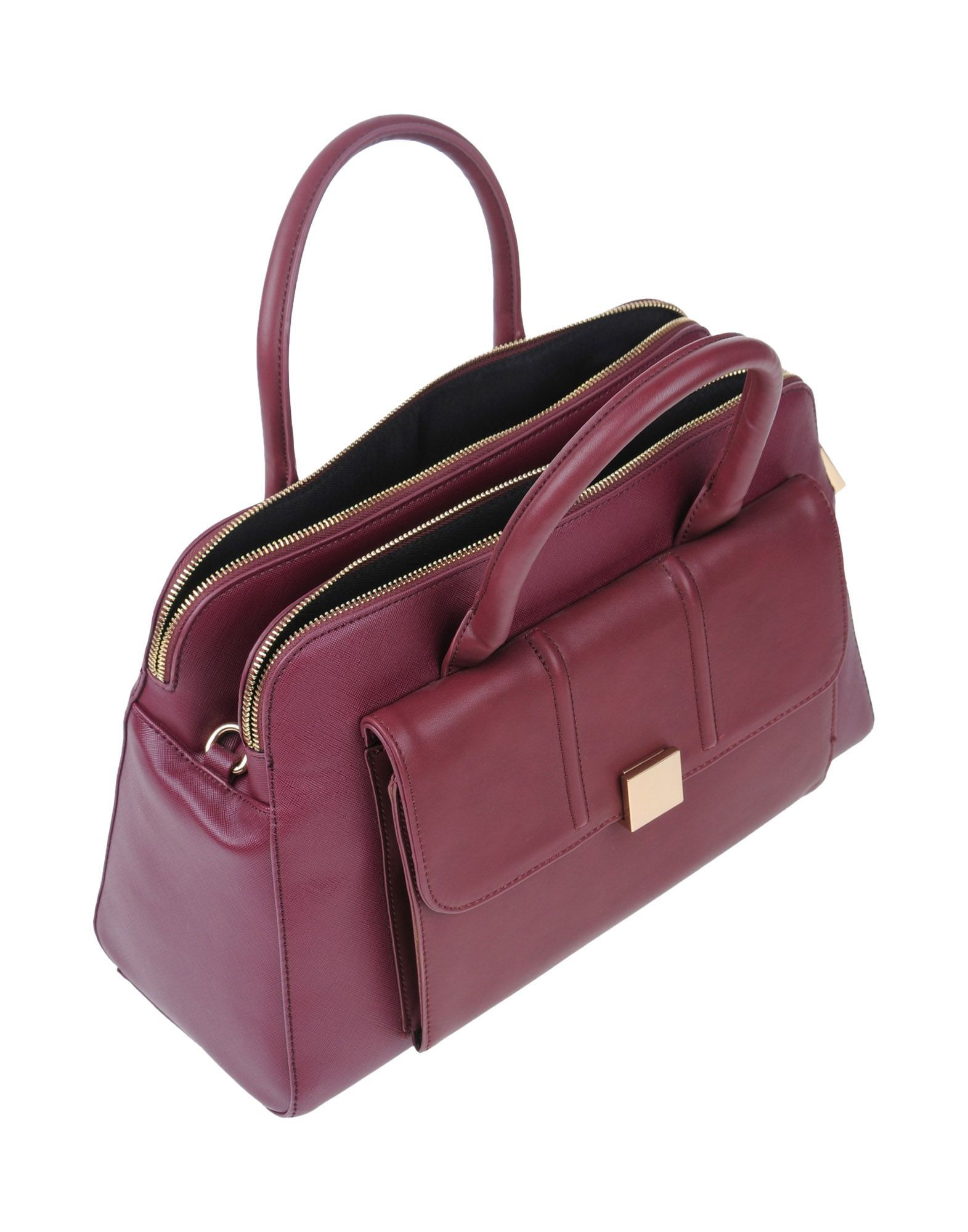 Nenette Maroon Faux Leather Bowler Bag