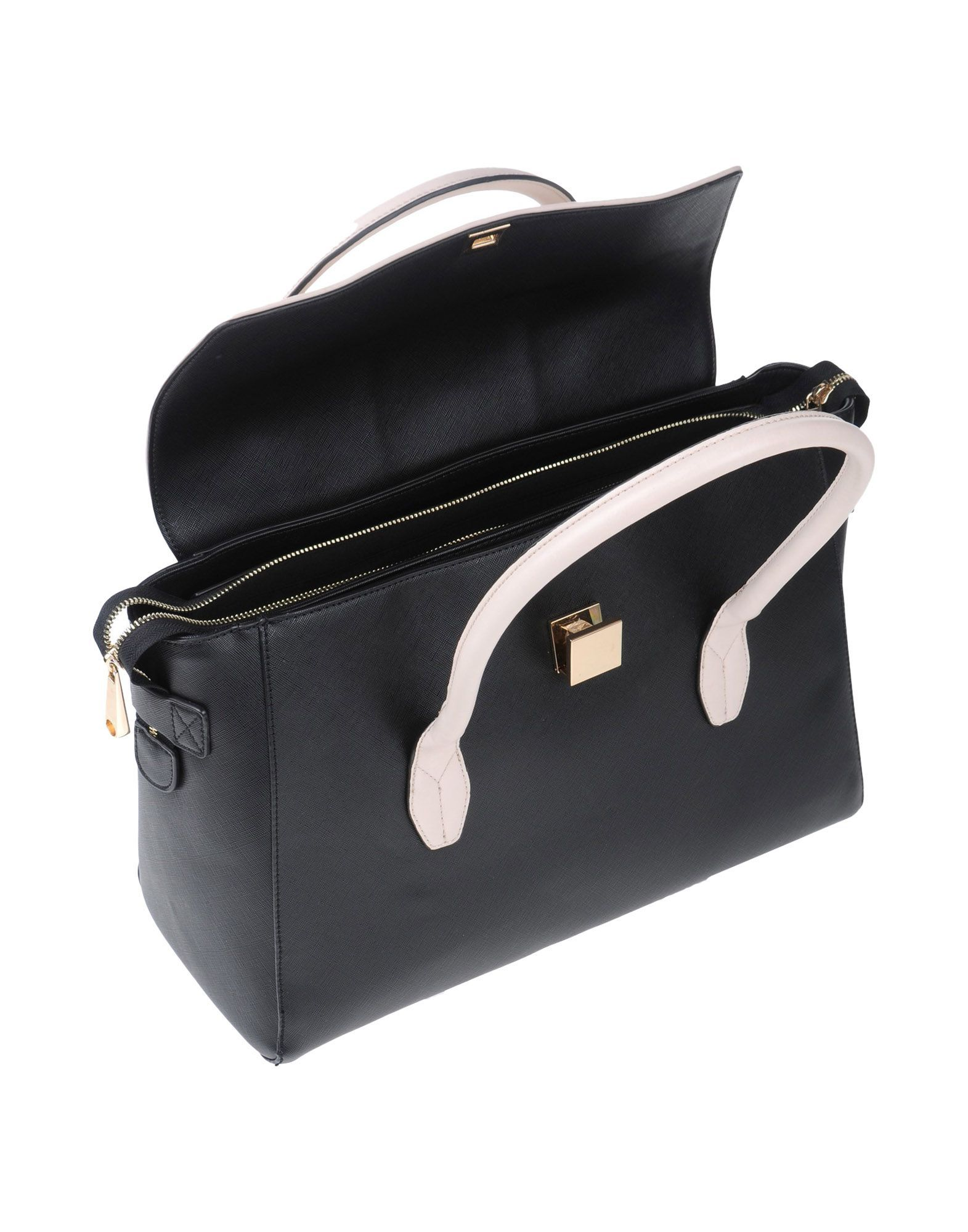 Nenette Black Two Tone Faux Leather Doctor's Bag