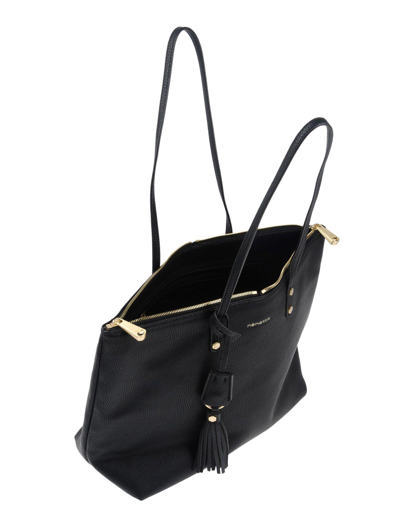 Nenette Black Faux Leather Shopper Bag