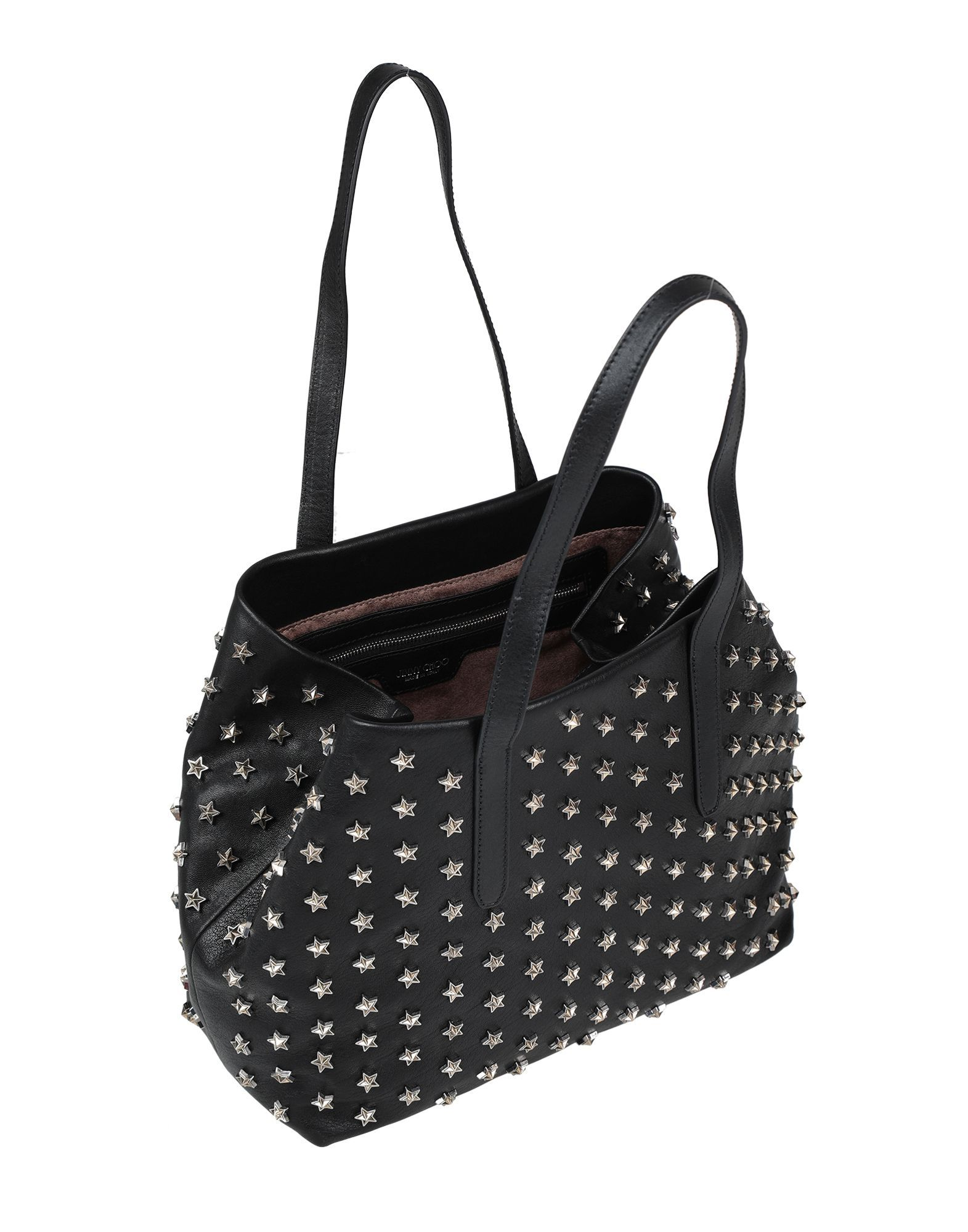 Jimmy Choo Black Leather Studded Shoulder Bag