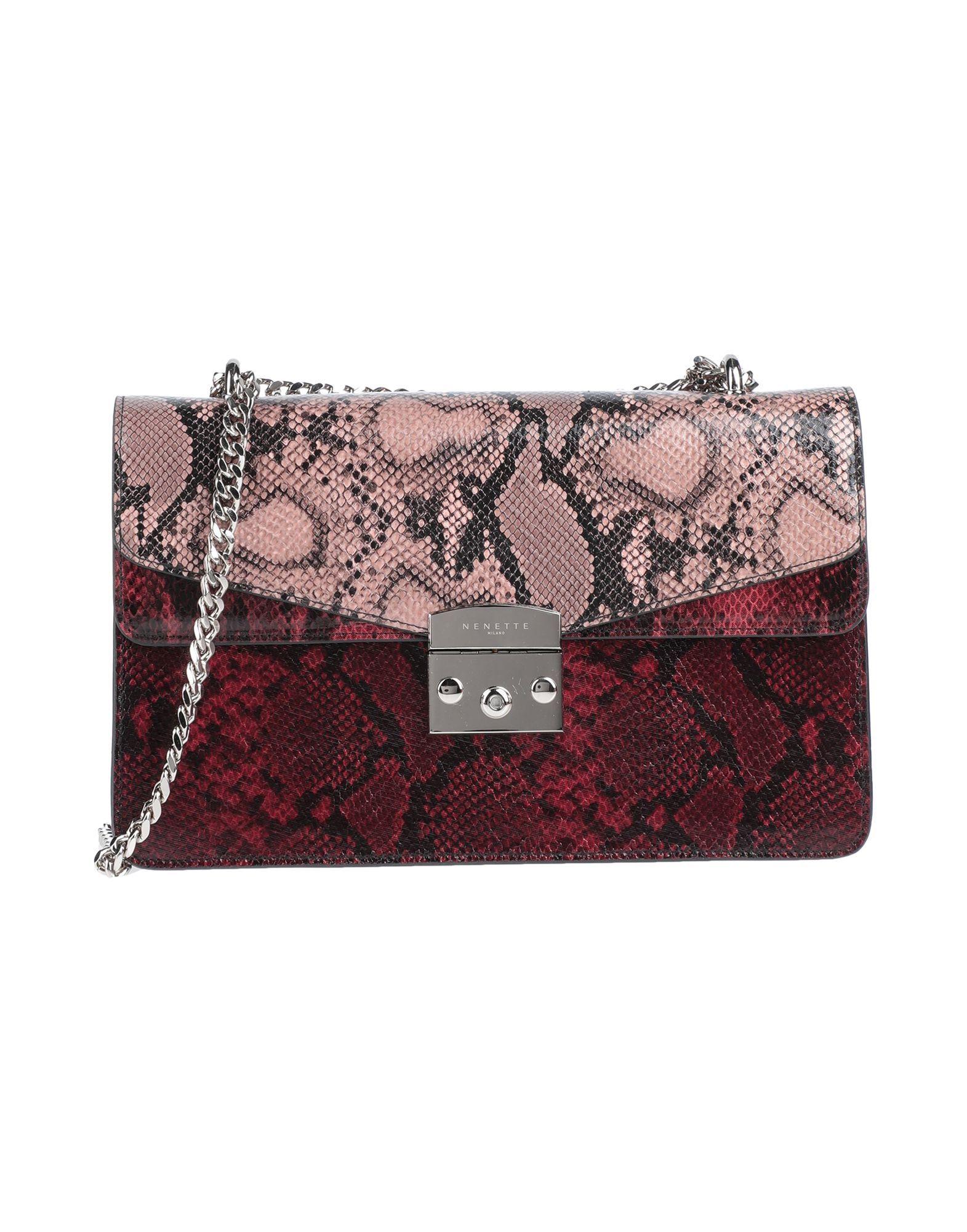 Nenette Pastel Pink Snakeskin Print Faux Leather Cross Body Bag