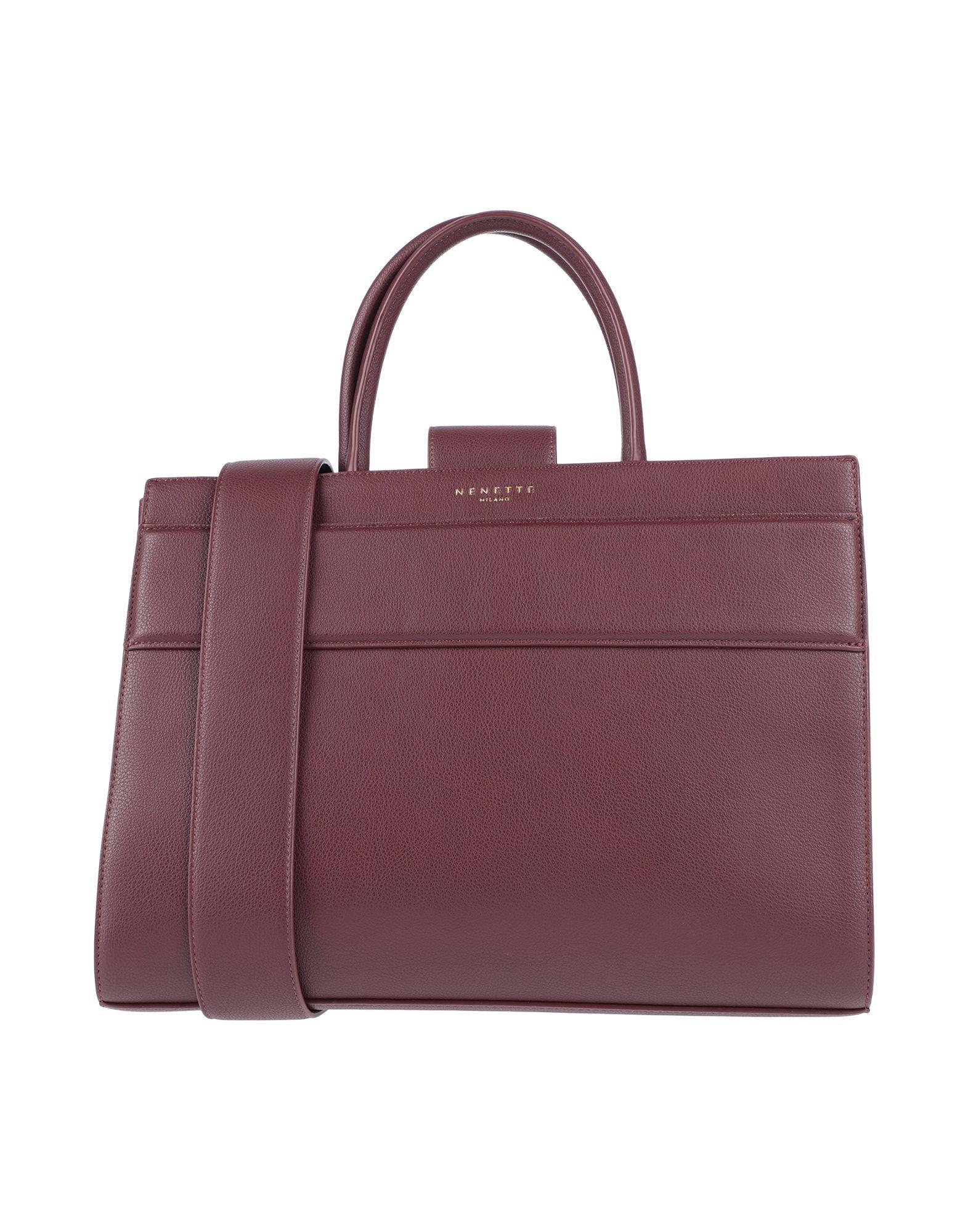 Nenette Maroon Faux Leather Top Handle Bag