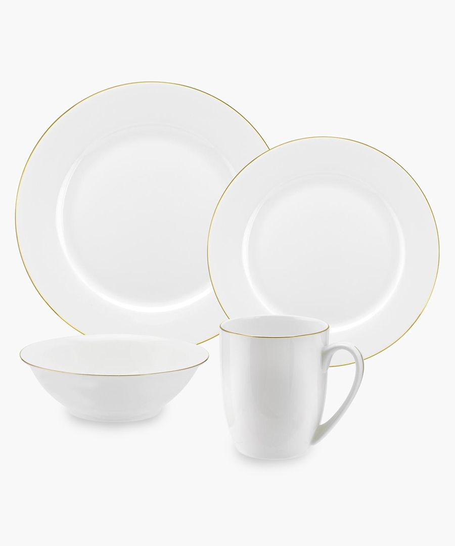 16pc Serendipity gold-tone band bone china set