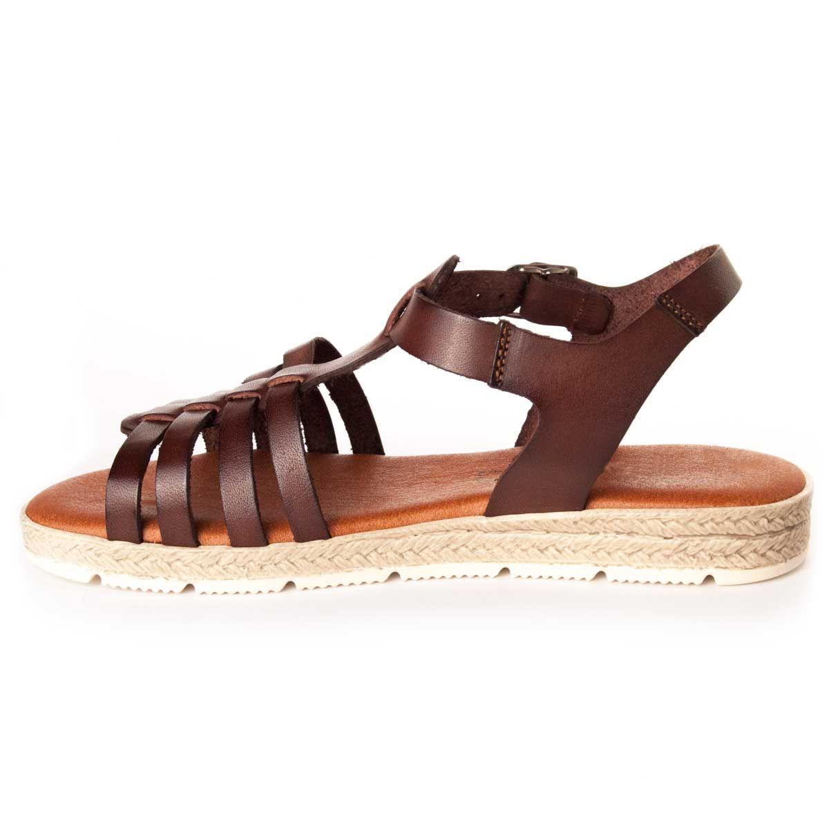 Montevita Flat Gladiator Sandal in Brown