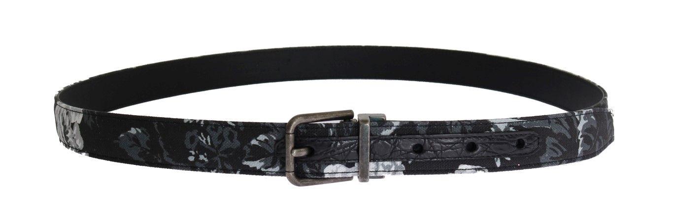 Dolce & Gabbana Black Cayman Linen Leather Belt