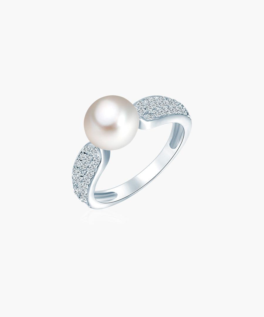 Silver-plated Button & oval pearl Ring