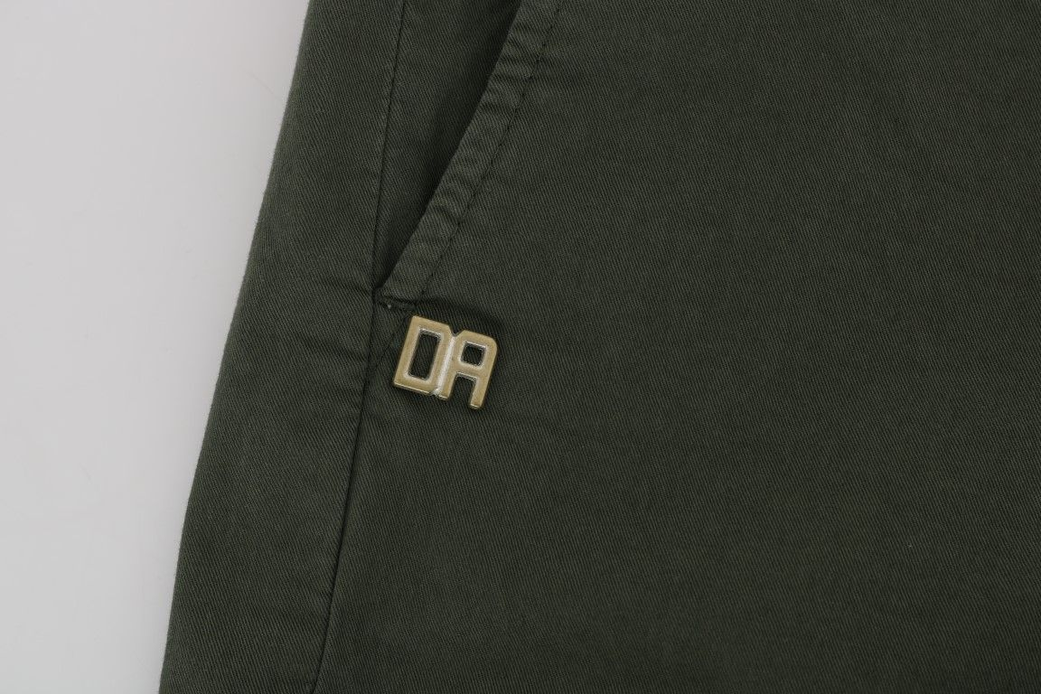 Daniele Alessandrini Green Cotton Stretch Slim Fit Chinos