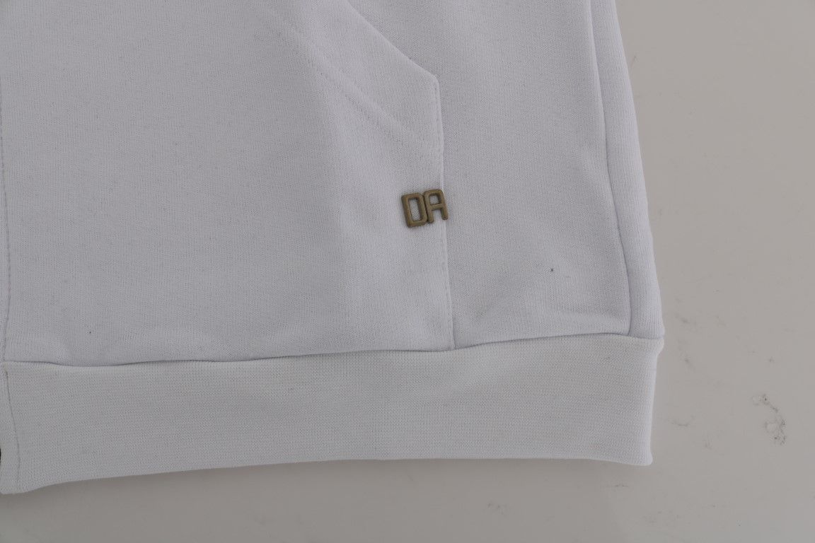 Daniele Alessandrini White Full Zipper Hodded Cotton Sweater
