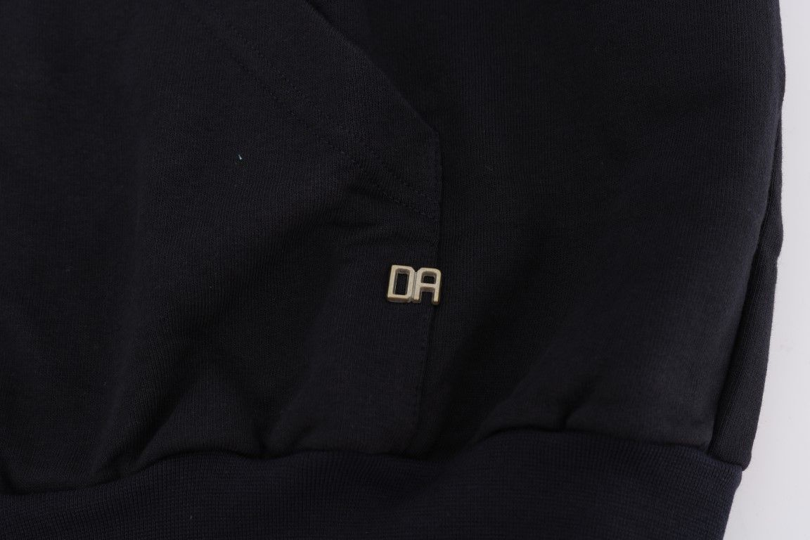 Daniele Alessandrini Black Full Zipper Hodded Cotton Sweater
