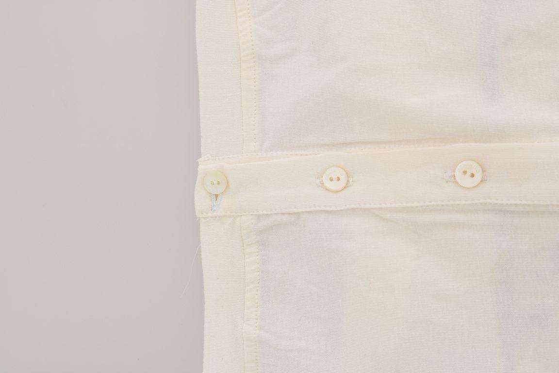 Galliano White Cotton Stretch Motive Print T-Shirt