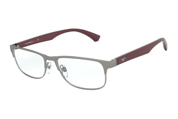 Emporio Armani Rectangular metal Men Eyeglasses Matte Gunmetal / Clear Lens