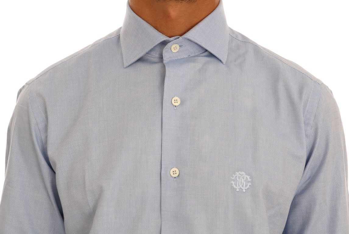 Cavalli Blue Cotton Slim Fit Dress Shirt