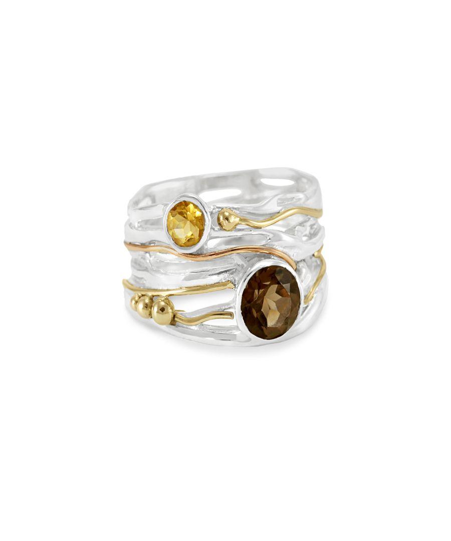 Smoky quartz & gold wire ring