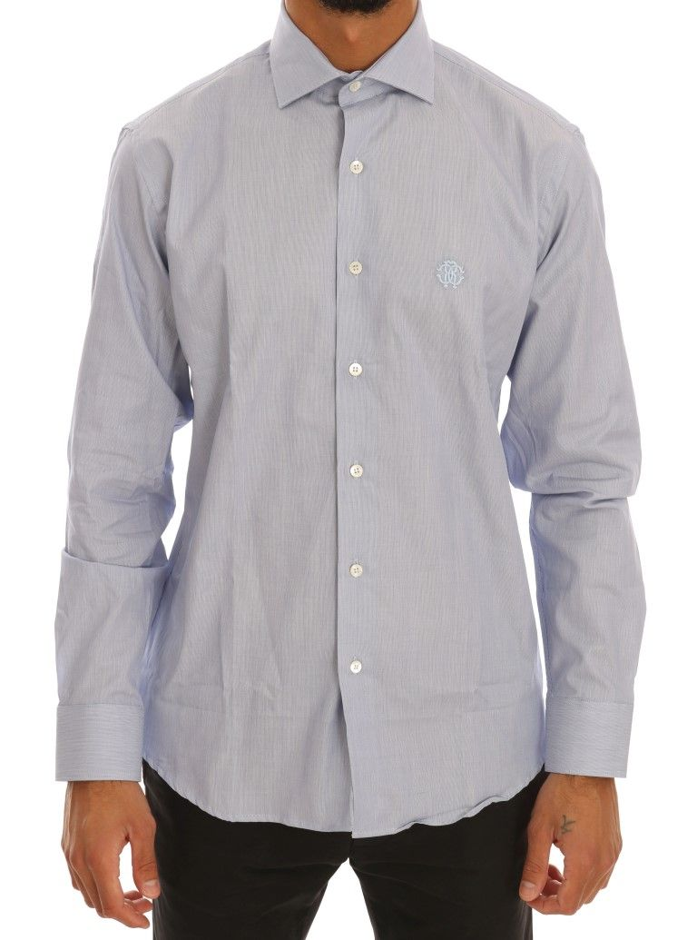 Cavalli Light Blue Cotton Slim Fit Dress Shirt