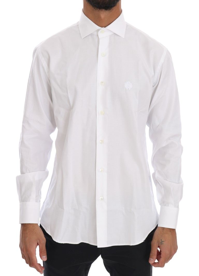 Cavalli White Striped Slim Fit Shirt