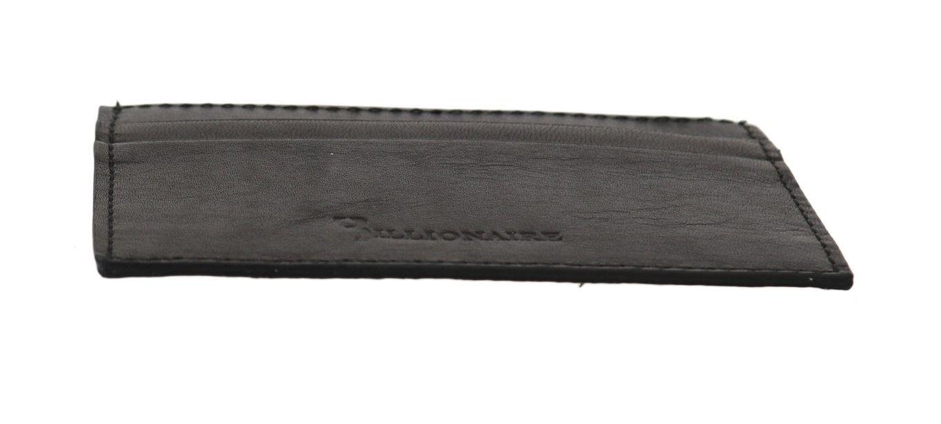 Billionaire Italian Couture Black Leather Cardholder Wallet