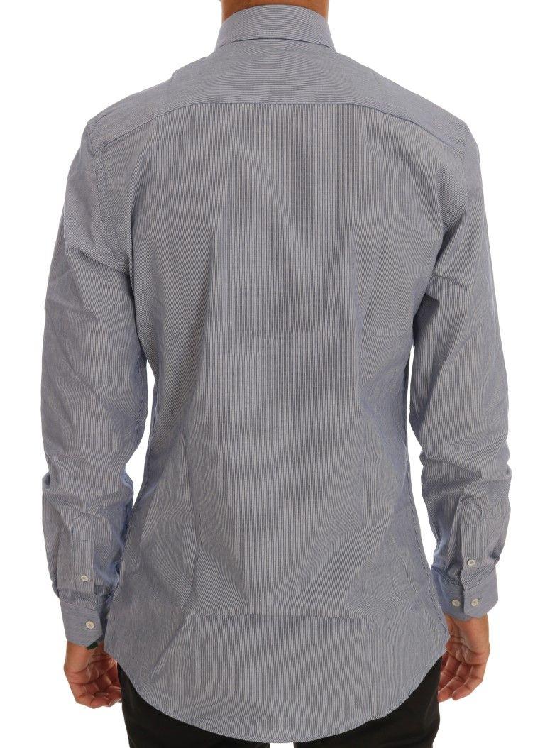 Moschino Blue Striped Cotton Slim Fit Dress Shirt