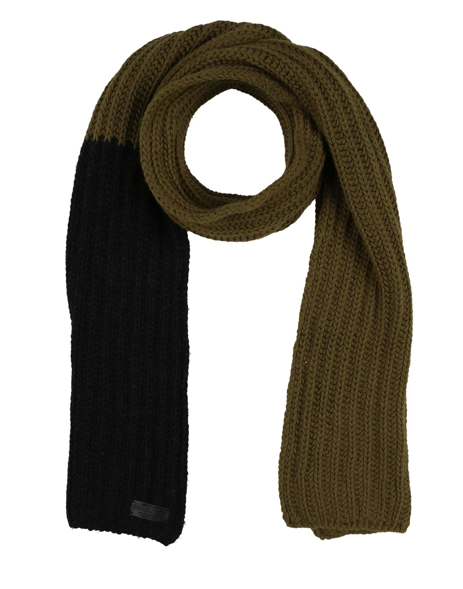 Dsquared2 Military Green Wool Knit Scarf