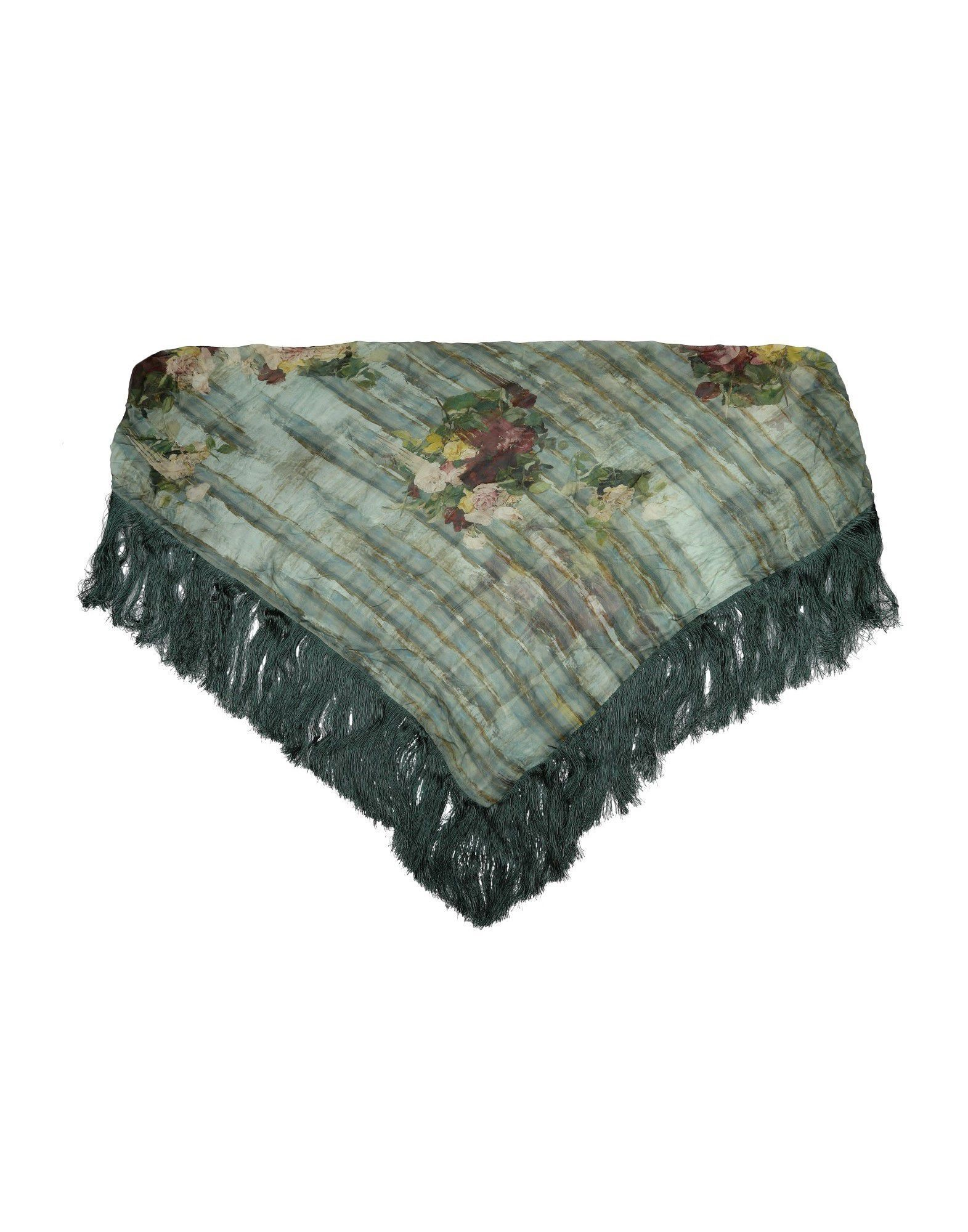 Alberta Ferretti Green Floral Design Silk Voile Fringed Scarf