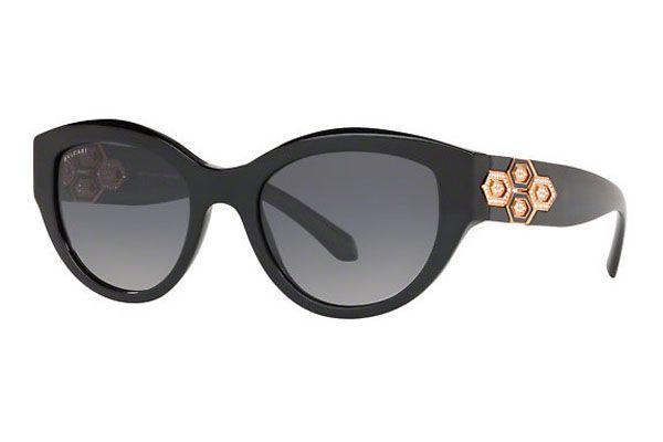 Bvlgari Oval plastic Unisex Sunglasses Black / Grey Gradient