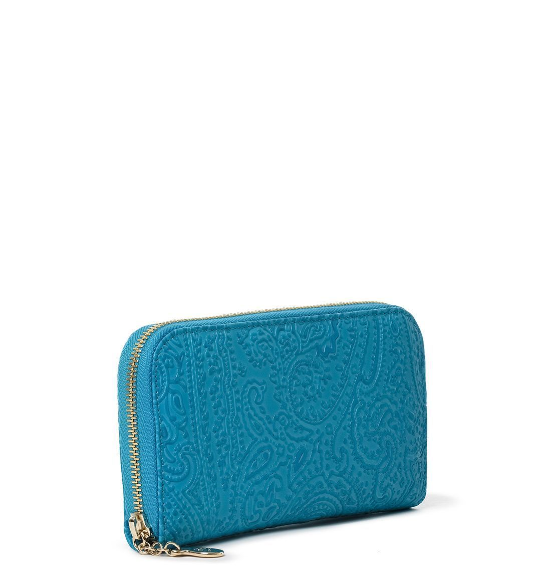 ETRO WOMEN'S 1B1072744250 LIGHT BLUE LEATHER WALLET