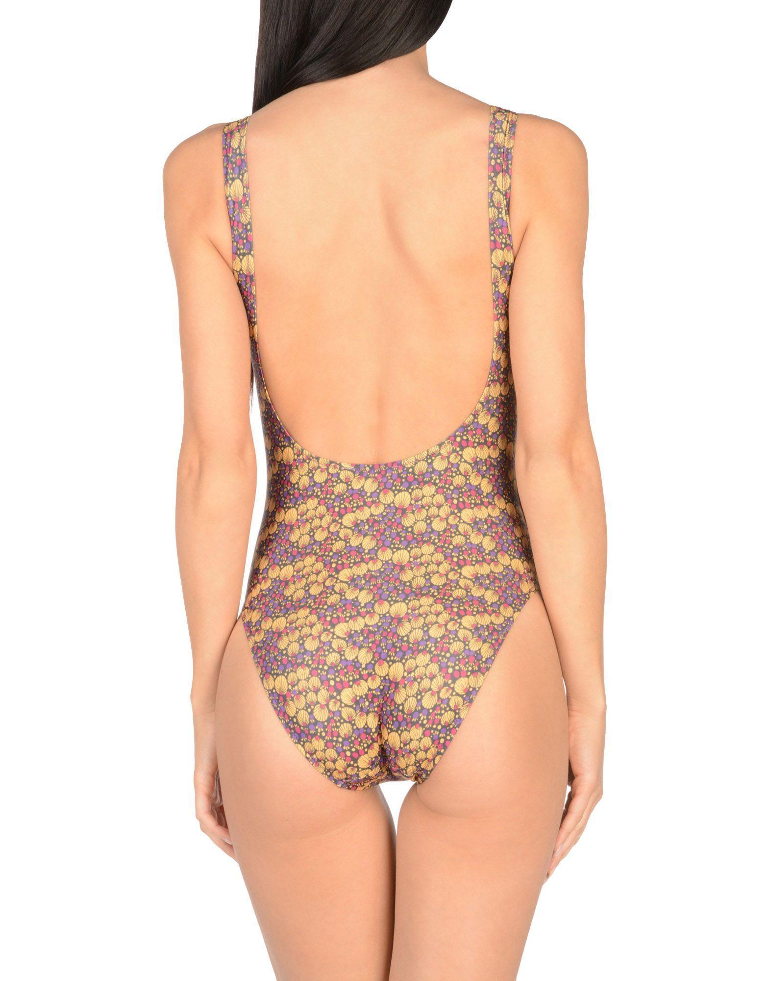 Pistol Panties Ochre Print Scoop Neckline Swimsuit