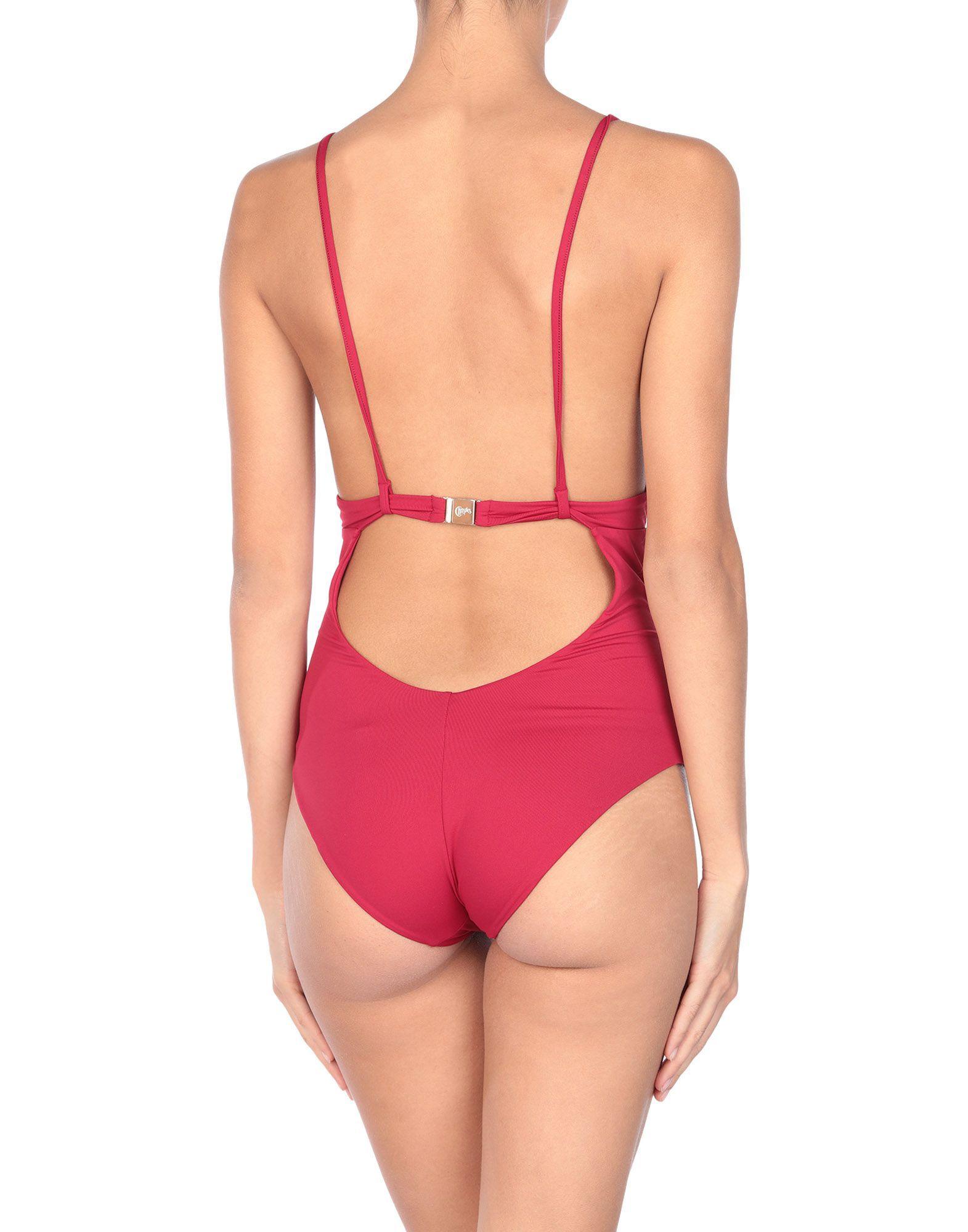 Christies Maroon Plunge Neckline Swimsuit