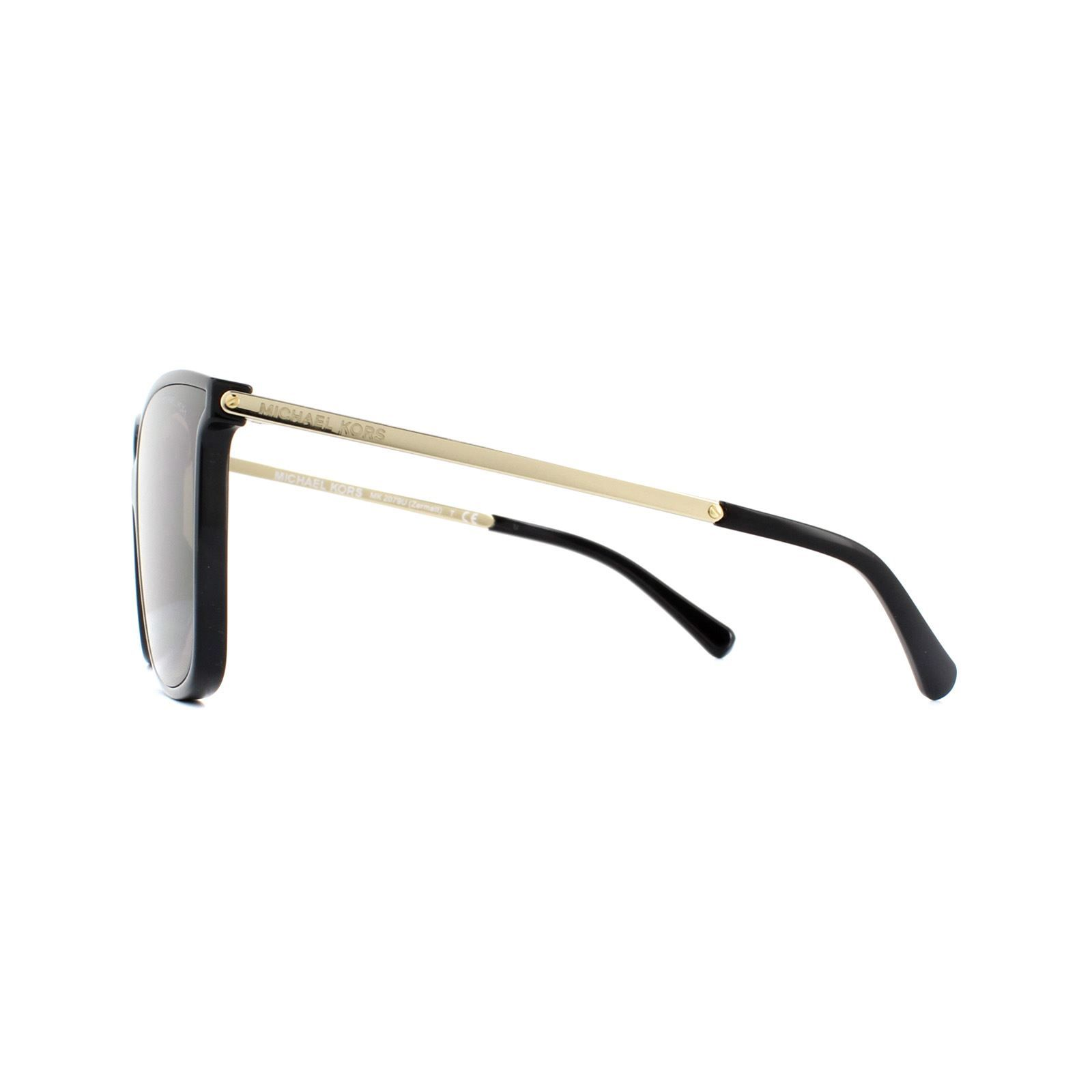 Michael Kors Sunglasses Zermatt 2079U 333273 Shiny Black & Metallic Gold Brown