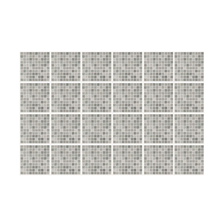 Natural Grey Limestone Mosaic Wall Tile Sticker Set - 15cm (6inch) - 24pcs one pack Self Adhesive DIY Wall Sticker