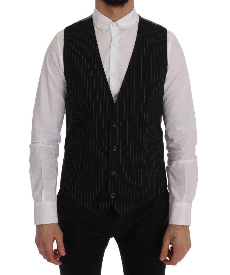 Dolce & Gabbana Black STAFF Cotton Striped Vest