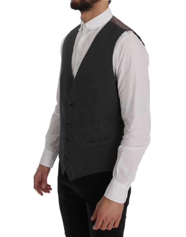 Dolce & Gabbana Gray STAFF Cotton Striped Vest