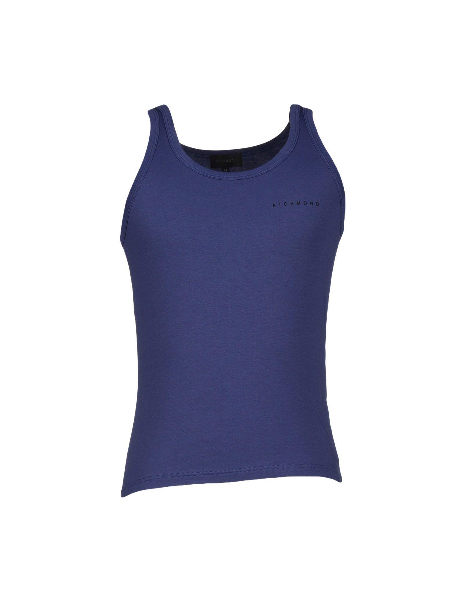 John Richmond Underwear Dark Blue Cotton Jersey Vest