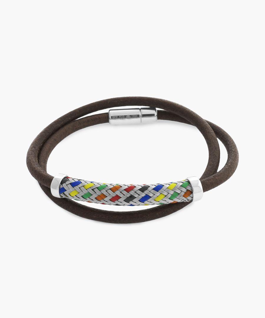 Pop kaleidoscope silver and leather bracelet
