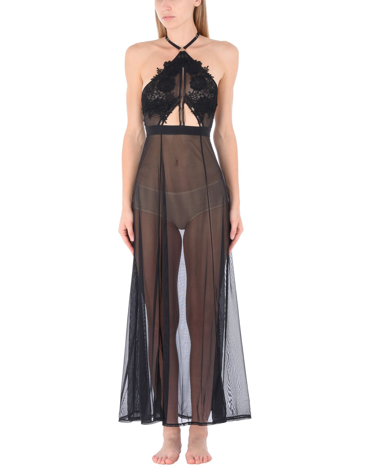 Bluebella Black Lace And Tulle Full Length Nightdress