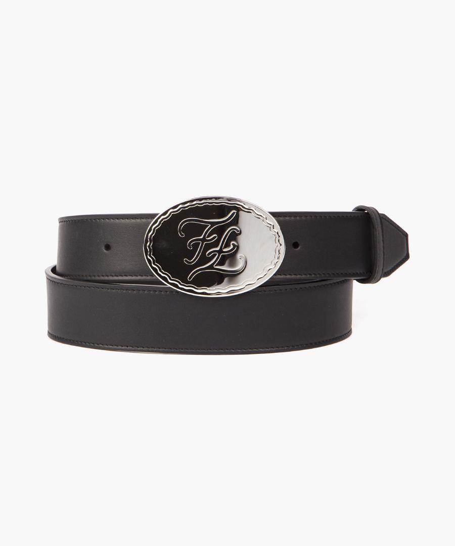 Black embossed logo belt
