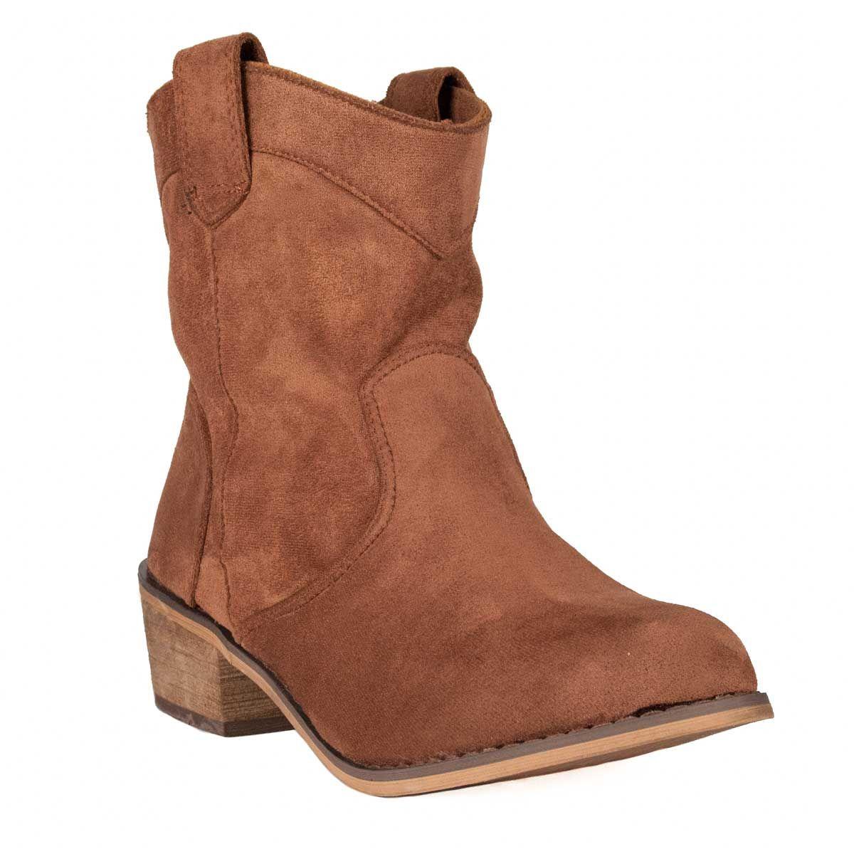 Montevita Flat Western Ankle Boot in Camel