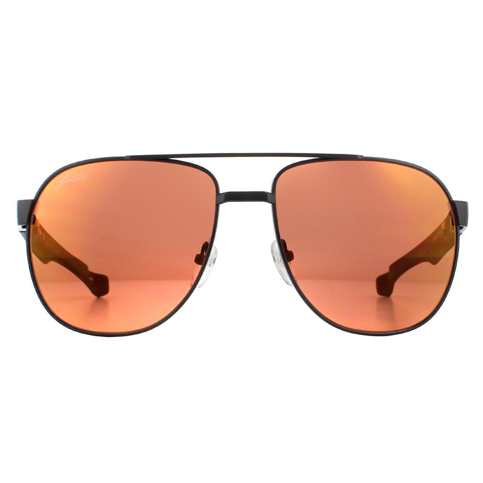 Lacoste Sunglasses L186S 001 Matte Black Orange Brown