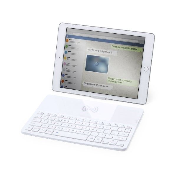Bluetooth Keyboard with Qi Wireless Charger White 146129