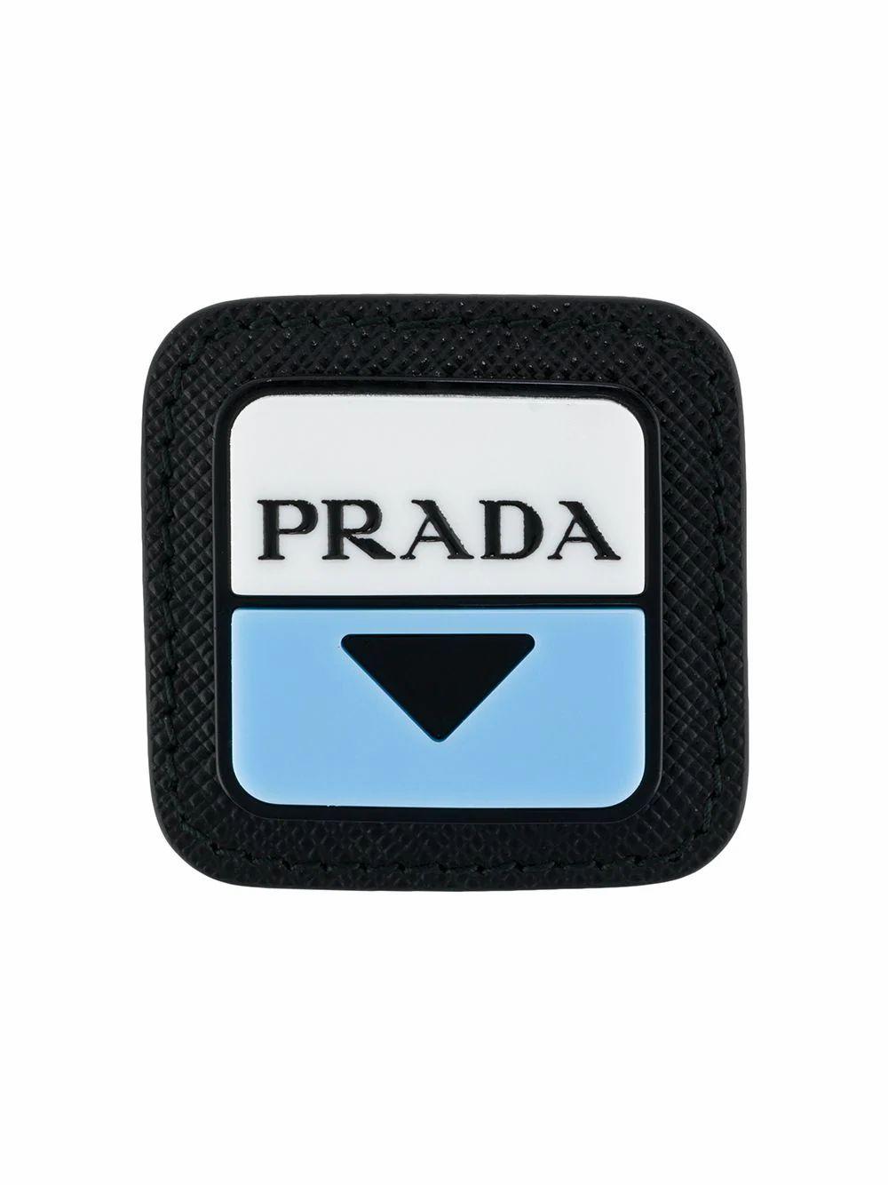 PRADA MEN'S 2IS0582DFHF0237 BLACK LEATHER PIN