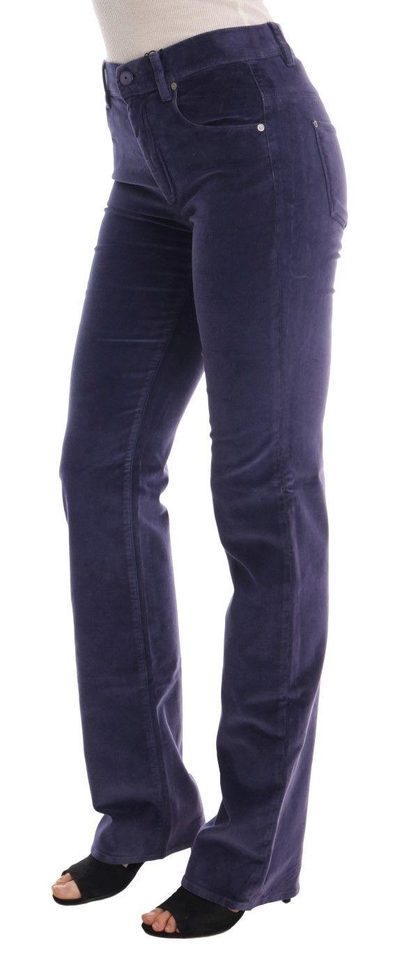 Ermanno Scervino Purple Corduroy Stretch Bootcut Pants