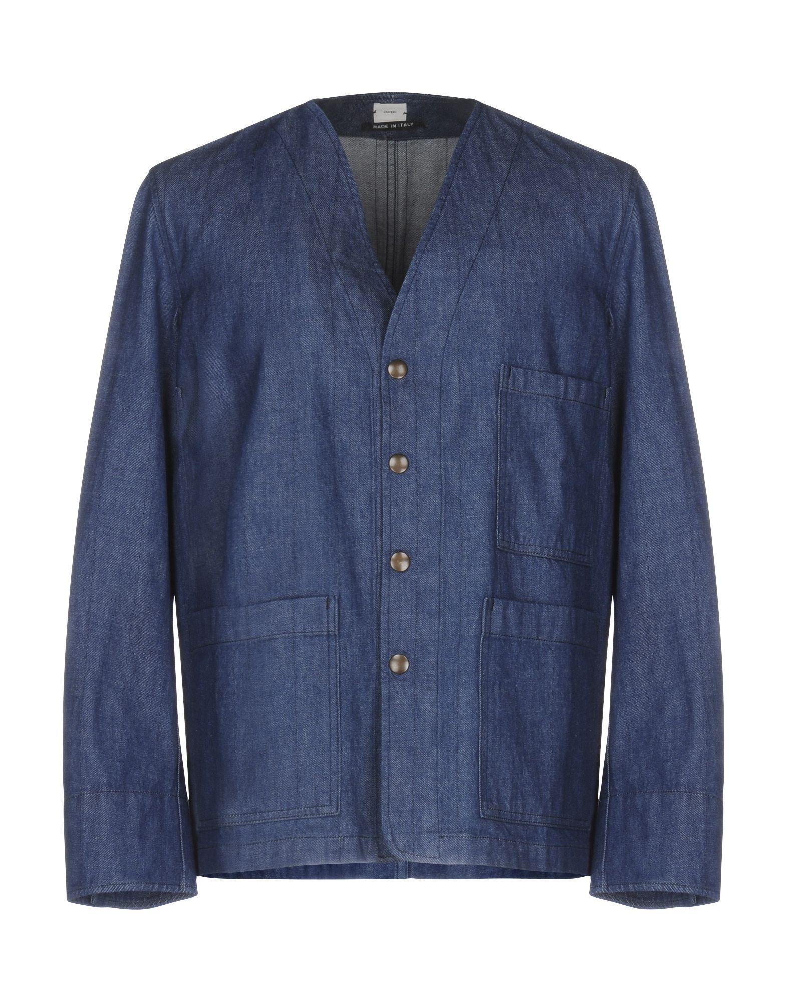 SUITS AND JACKETS Covert Blue Man Cotton