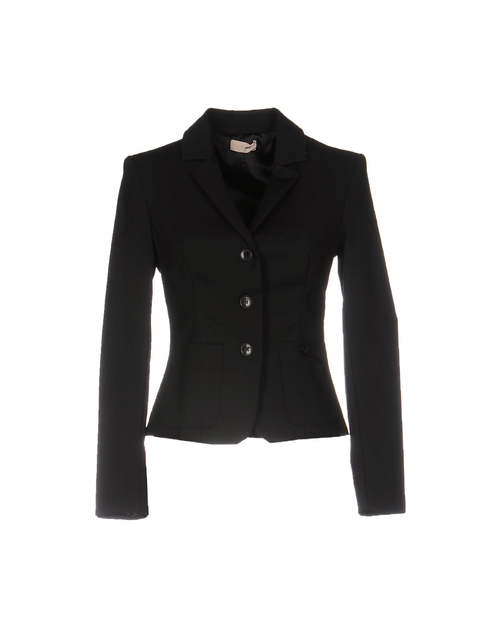Scee By Twinset Black Cotton Single Breasted Blazer